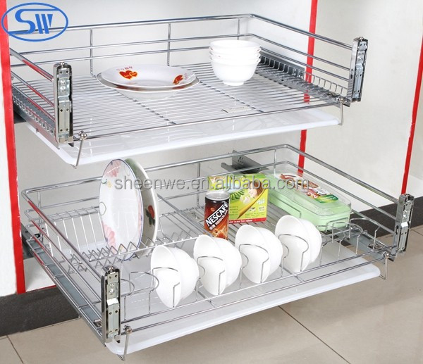 A02.05.003Guangzhou Soft-closing 2tier Dish Racks Kitchen cabinet design Wire stainless steel Drawer Baskets
