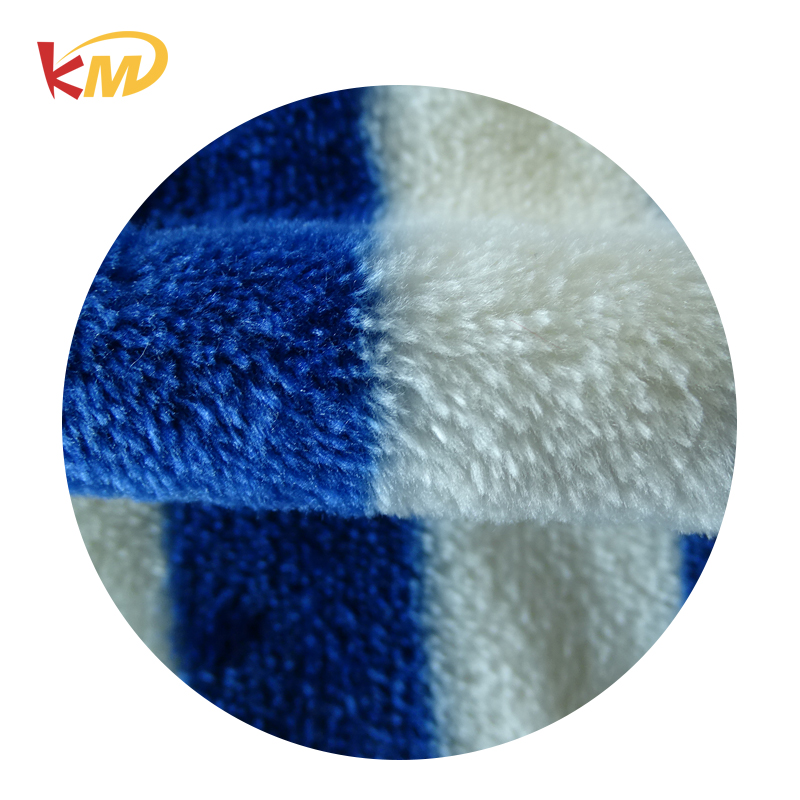Printed polyester plaid flannel fabric for car cleaning cloths/animal price per meter