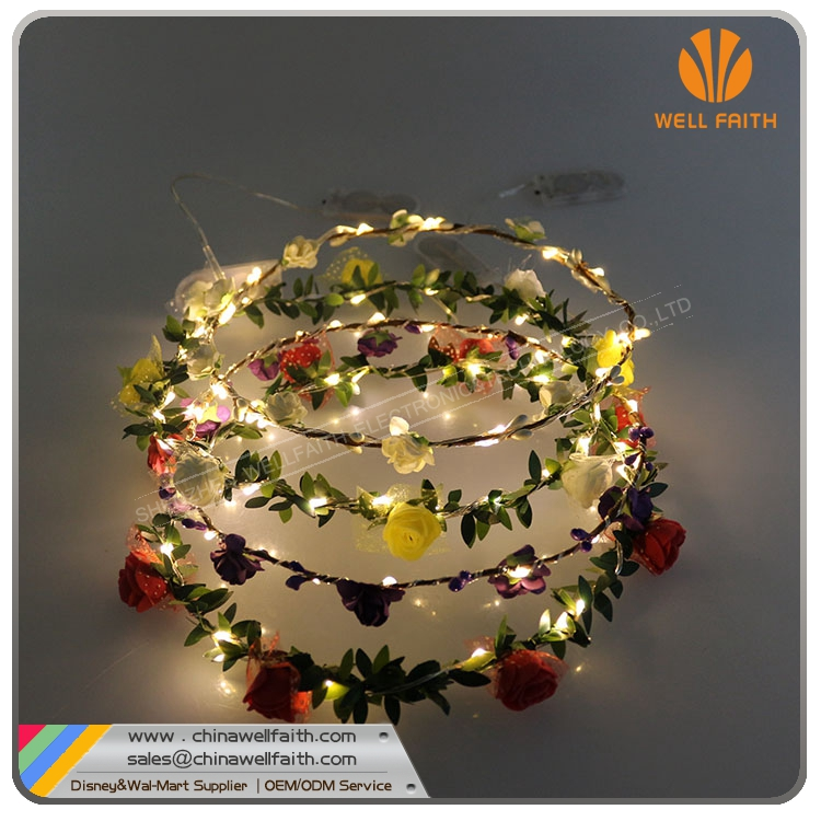 Rose clips colourful wire led string light head decoration serial lights