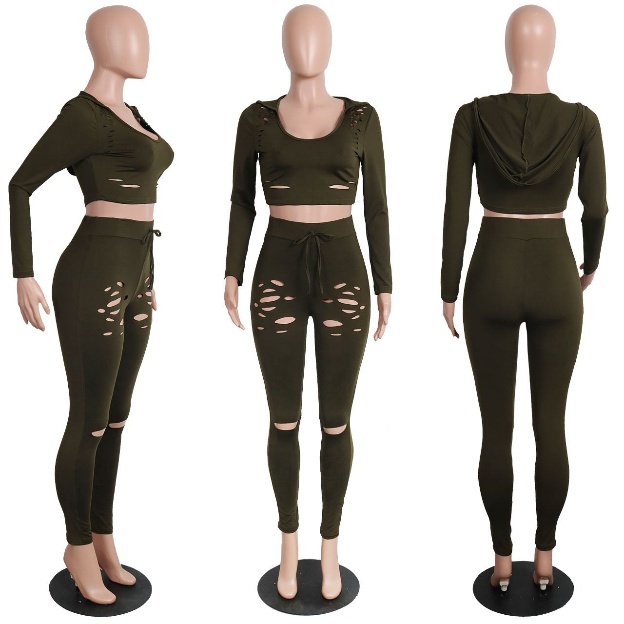 Hole Tracksuits 2 Piece Streetwear Lady Long Sleeve Slim Cropped Hoodies And Drawstring Ankle-Length Pants set