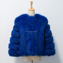 winter genuine royal blue fox fur coat from China