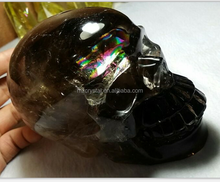 life size natural hand carved smoky rainbow quartz crystal skulls for sale