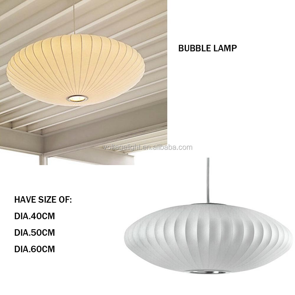 Modern White Pendant Light Decorative Saucer Premium Fabric Suspended Ceiling