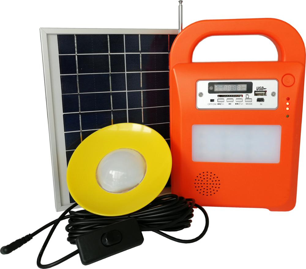 Portable and mini off grid solar lighting kit 12V 10W with USB