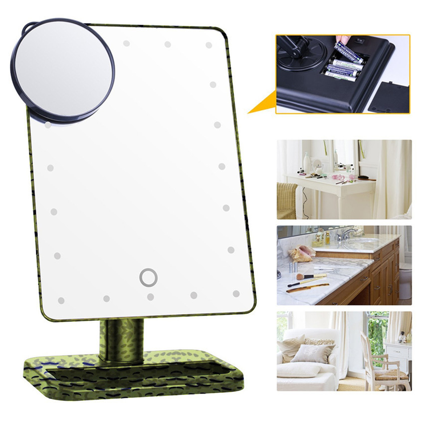 20 LED Lights Professional Touch Screen Makeup Mirror Portable Vanity  Lighted Stand Mirror