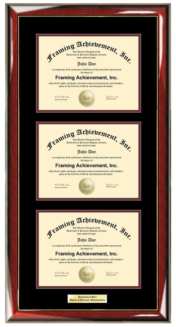 Engraved Triple Certificate Frame Vertical Professional Certification or College Document Plaque Holder Three University Degree (Diploma Size - Up to 11x14)