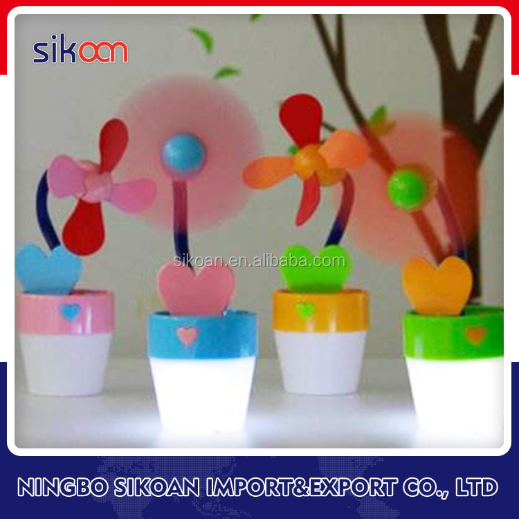 Sun Flower Shape Pot Rechargeable Mini USB Fan Portable Air Cooler Electric Fan Stand Clip At Table Mini Fan