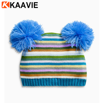 bfb112aca51559 Custom baby kids rainbow striped cable knit crochet beanie hat with two  balls