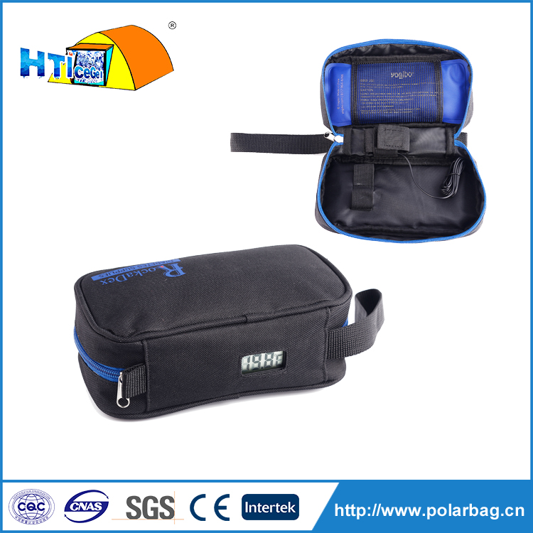 Small 600D Polyester insulin pen travel cooler case with LCD temperature display