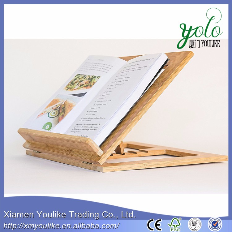 foldable Bamboo Cookbook Holder for kitchen