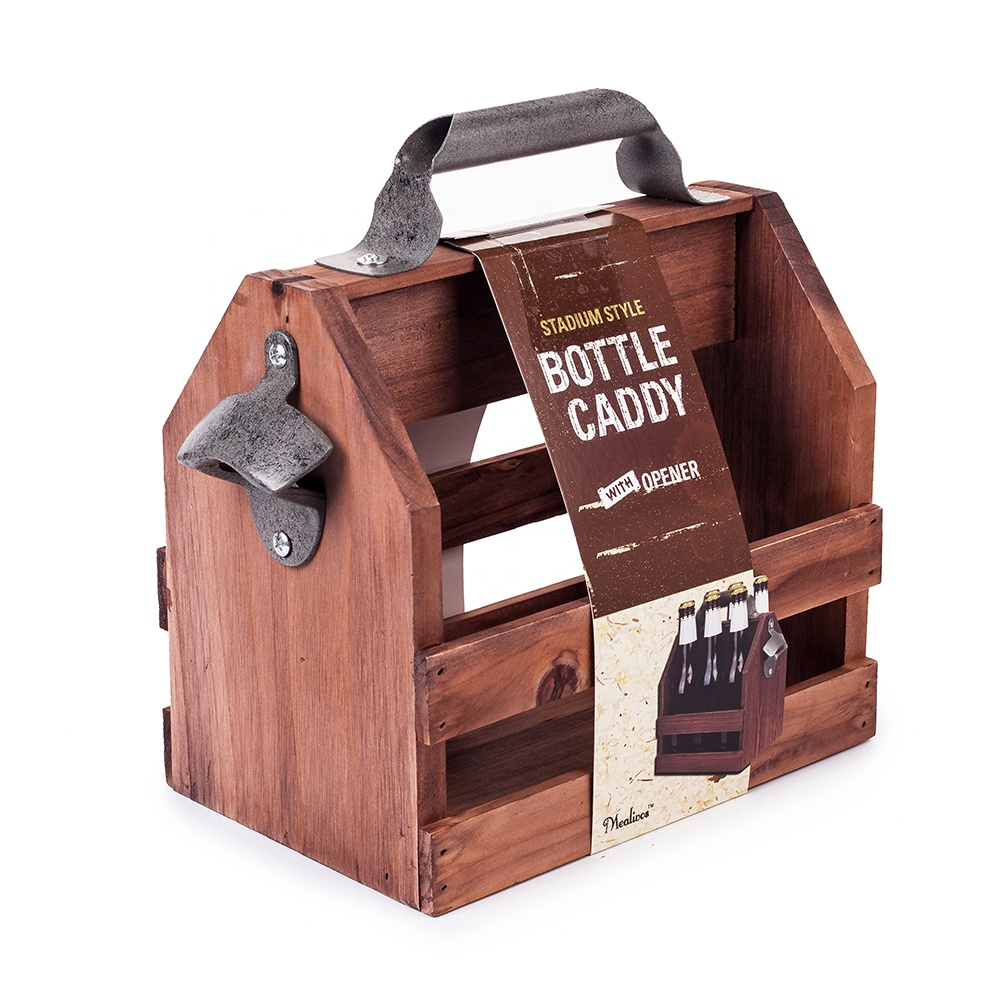 Best Man Cave Gift for Father's Day 6 Pack High quality beer Bottle caddy carrier wooden beer caddy фото