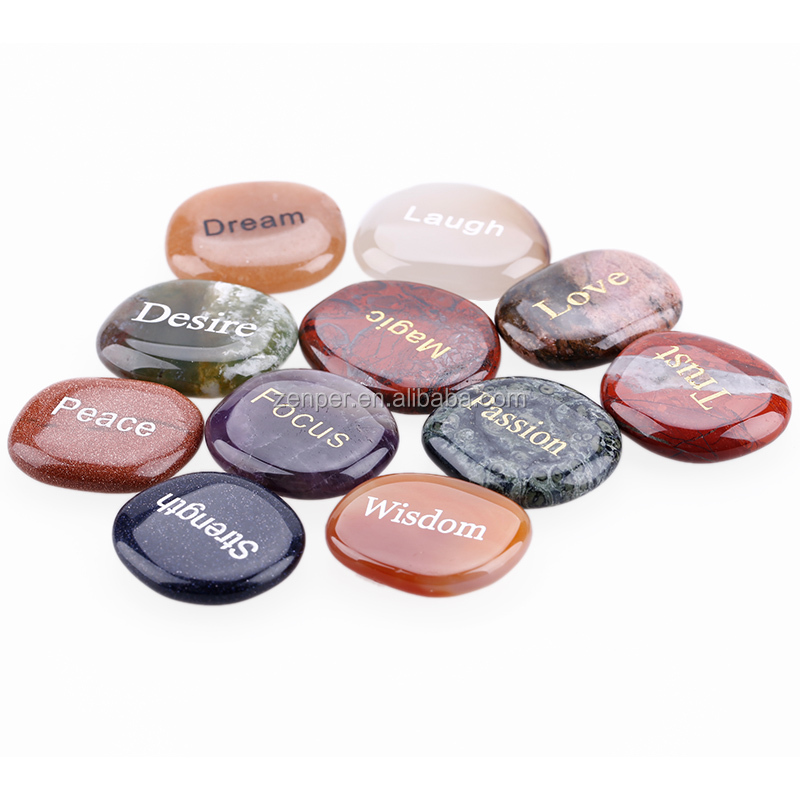 Wholesale 7 chakra engraved words stone ,rock gemstone,pocket stone