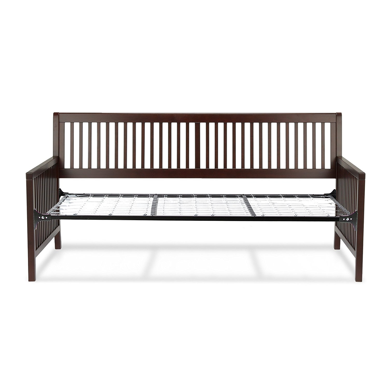 Fashion Bed Group Mission Complete Wood Daybed with Link Spring Support Frame and Open-Slatted Panels, Espresso Finish, Twin