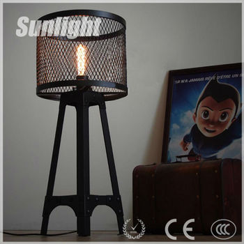 Rustic Vintage Light Fixture Industrial Loft Mesh Iron Scaffold Floor Lamp Table Lighting For Deco