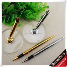 Table pen with 24K gold , desk pen , gold and silver stand pen for bank