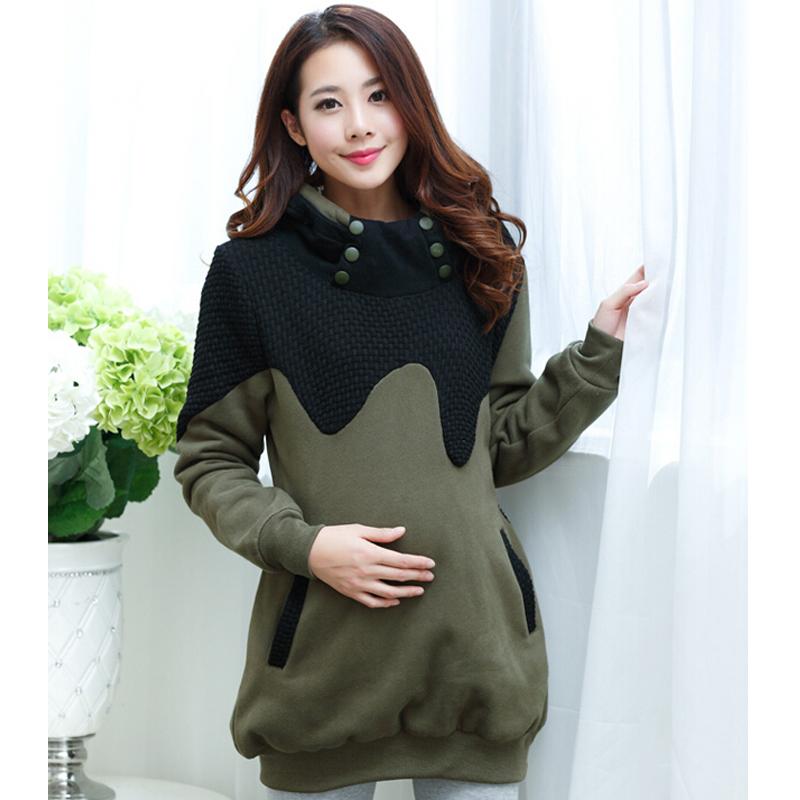 Европейский стиль утолщаются тёплый закрытый воротник вкладыш для беременных пальто зима женщин для беременных пальто одежда для беременных женщины