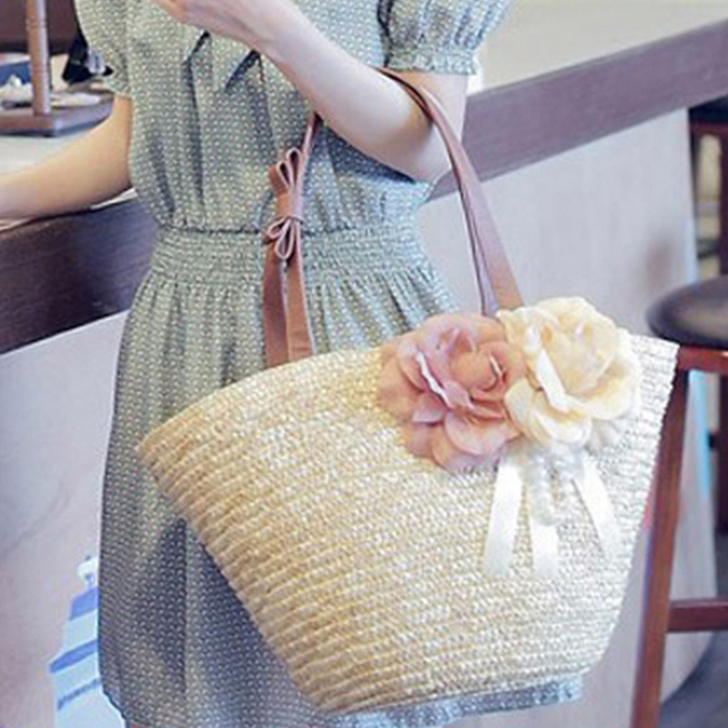 Pastoral bag custom bowknot strap decorated ladies rattan handbag