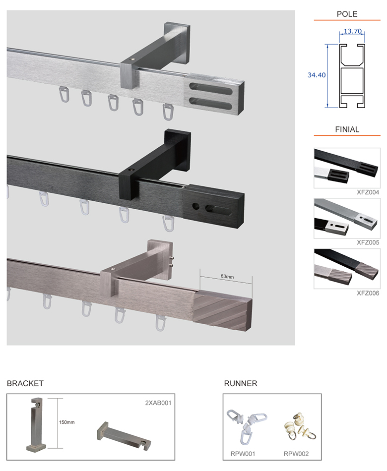 Aluminum square curtain rail export to europe wholesale track curtain rail