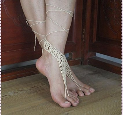 9ff70f348ad0aa Bridal Barefoot Sandals-white Crochet Barefoot Sandals-bridal Foot Jewelry-beach  Wedding Barefoot