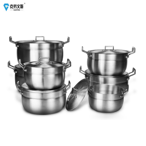 die cast Cheap non stick Aluminum Pot 18cm 7pcs Coking Cookware Polished camping Cookware Set