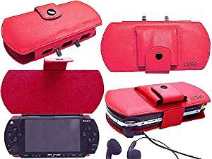 Deluxe PSP Leather Carrying Case for Sony PSP - Red