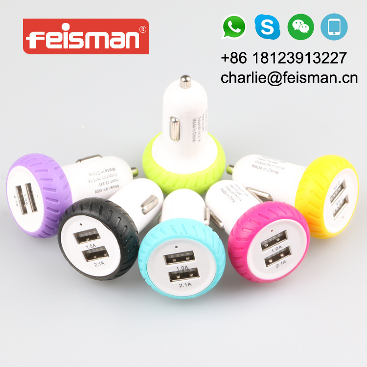 Wheel 5V 2.1A Dual USB Car Charger Adapter For iPad For iPhone For Samsung