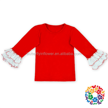Embroidery Blanks For Children Christmas Long Sleeve T Shirt Ruffle