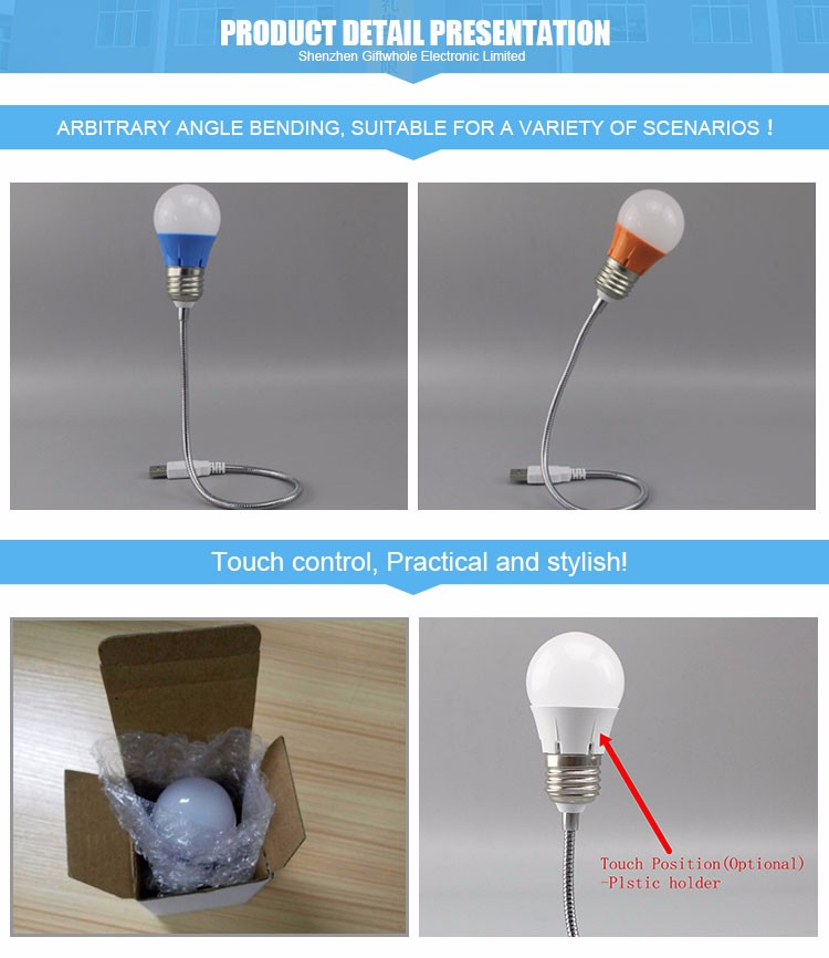 Wholesale Factory Silver Case Led Lamp Eye-Caring Lamp Usb