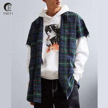 Wholesale Men Streetwear Raw Edges Short Sleeve Flannel Red Check