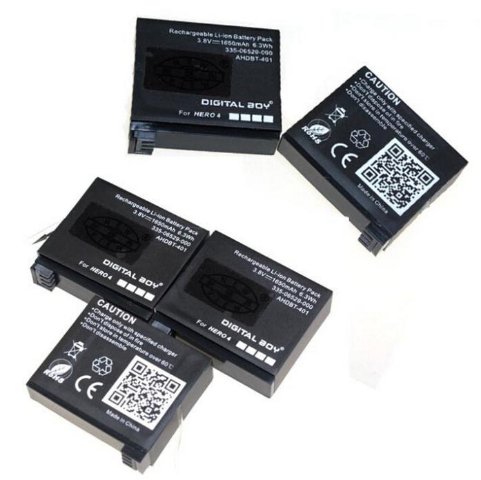 5Pcs 3.8V 1650 MAh Battery GoPro AHDBT-401 AHDBT 401 Battery For GoPro Hero 4