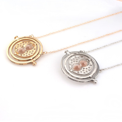 Harrys Potter Rotating Spins Hourglass pendant Harrys Potter Gold Time Turner Necklace фото