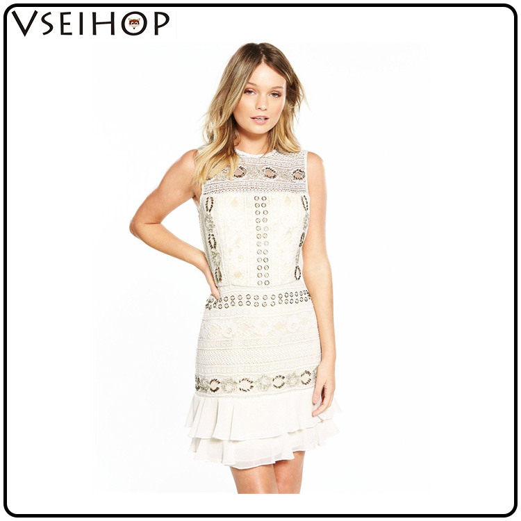 wholesale clothing women round neck flashy sequined floral printed cut out pleated dress