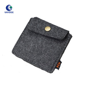 Wholesale Custom Flap Private Label 3mm Darker Grey Felt Jewelry Button Pouch