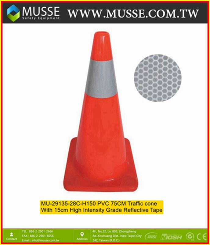 MU-29135-28C-085 75cm PVC traffic cones for sale with Reflective tape