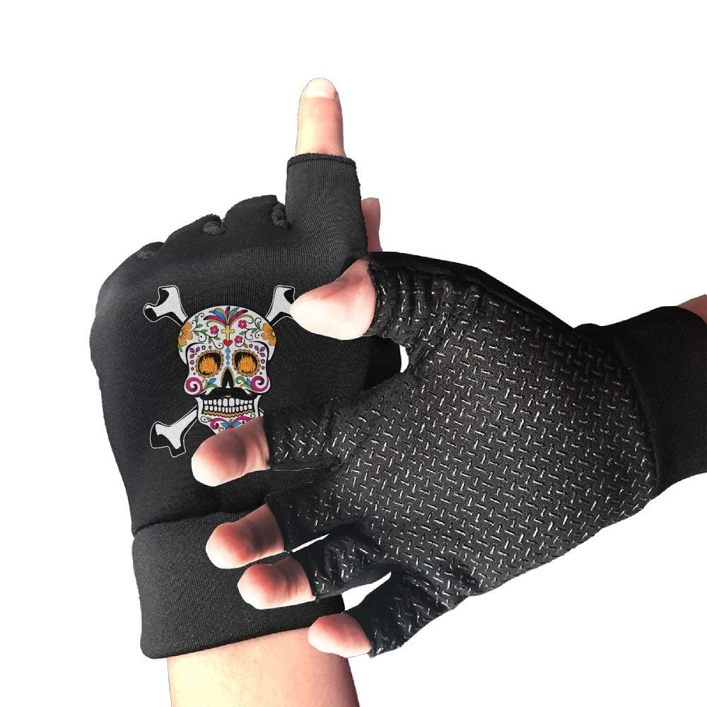 SUGAR SKULL Mexican Pirate Flag Day Of The Dead Unisex Half Finger Gloves