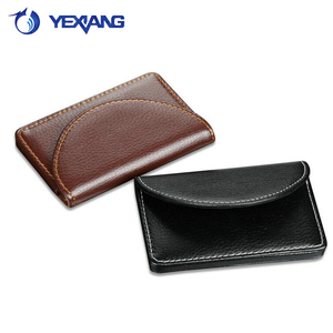 China Factory Promotional Leather men name card fashion PU cardfile business office gift