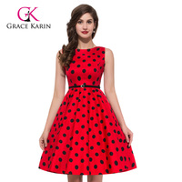 53 colors Grace Karin Knee Length Big Polka Dots Vintage Retro 50s Cotton dress Plus Size CL6086-7