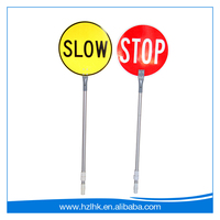 Good price safety signs round slow octagon stop bat with timber pole