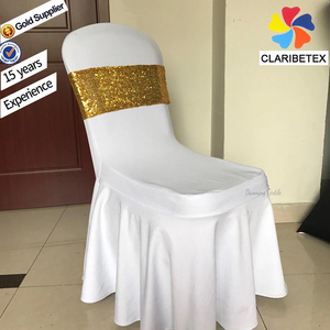 Cheap sequin chair band christmas chair cover back flower chair sashes for wedding
