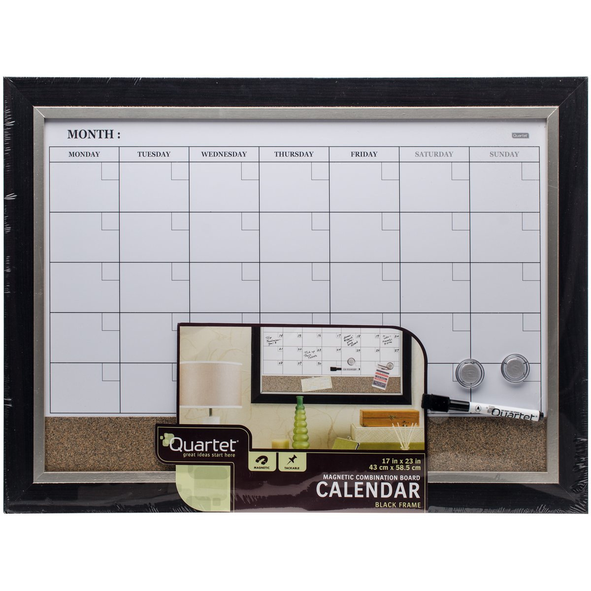 "Quartet Dry Erase Calendar Board, Planner, Magnetic, Combo White Board & Cork Board, 17"" x 23"", Wood Finish Frame (22476)"