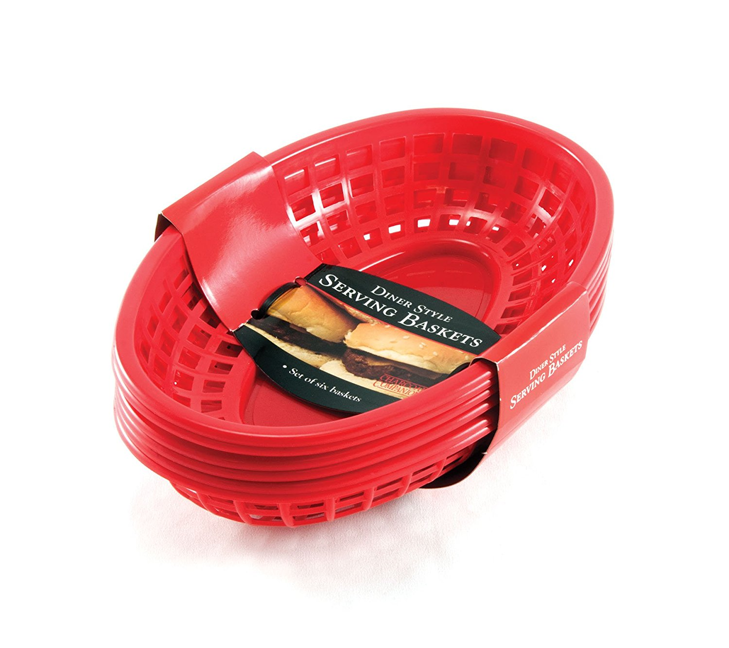 Charcoal Companion CC2019 Plastic Diner Style Serving Baskets, Set of 6, Red