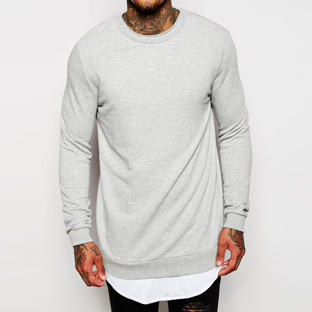 custom plain longline wholesale crewneck sweatshirt man