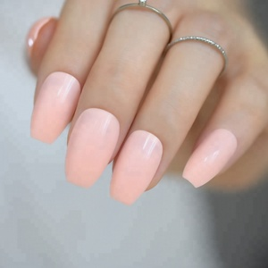 Pure Peach Pink Candy Coffin Nails Shinning Surface Medium Flat Artificial Press On Nail Tips Easy DIY Salon Product Tool 719B