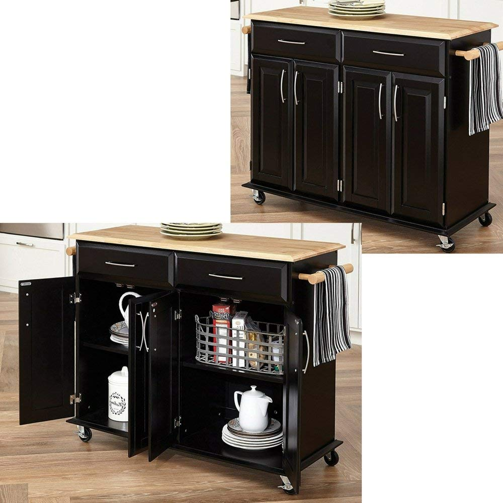EFD Rolling Kitchen Island with Towel Holders Drawers and Cabinets Black Adjustable Shelves Portable Trolley with Casters Large Modern Kitchen Cart on Wheels eBook by Easy&FunDeals