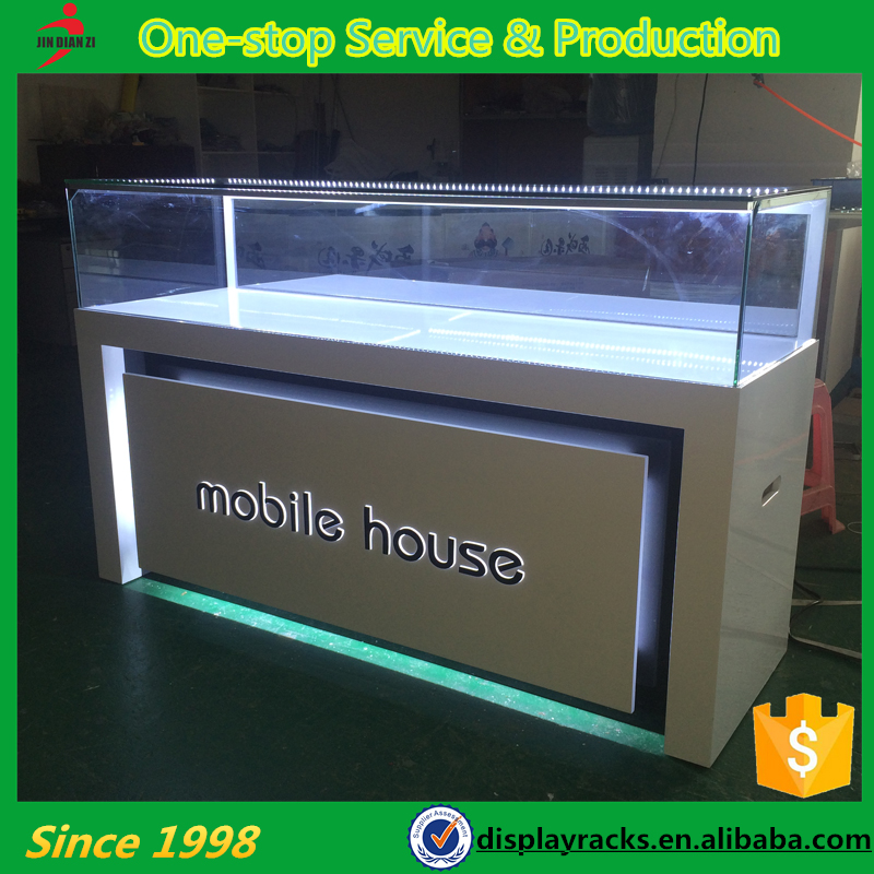 Modern new design luminated furniture design for mobile shop, mobile store funiture, cabinet supplier
