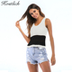 Kostlich Women Summer Fashion Sleeveless Patchwork Sexy Crop Tops Woman Knitted Ladies Tunic Tank Top Vest