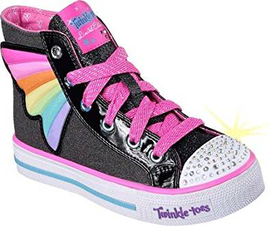 bb88e7717dcc Get Quotations · Skechers Girls  Twinkle Toes Shuffles Wander Wings High Top