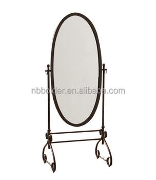 Wholesale Antique Brown Metal Cheval Oval Standing Floor Mirror ...