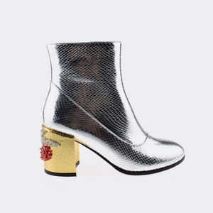 Ankle boot wholesale silver shiny gold red cherry patterned heel new lady shoes boots