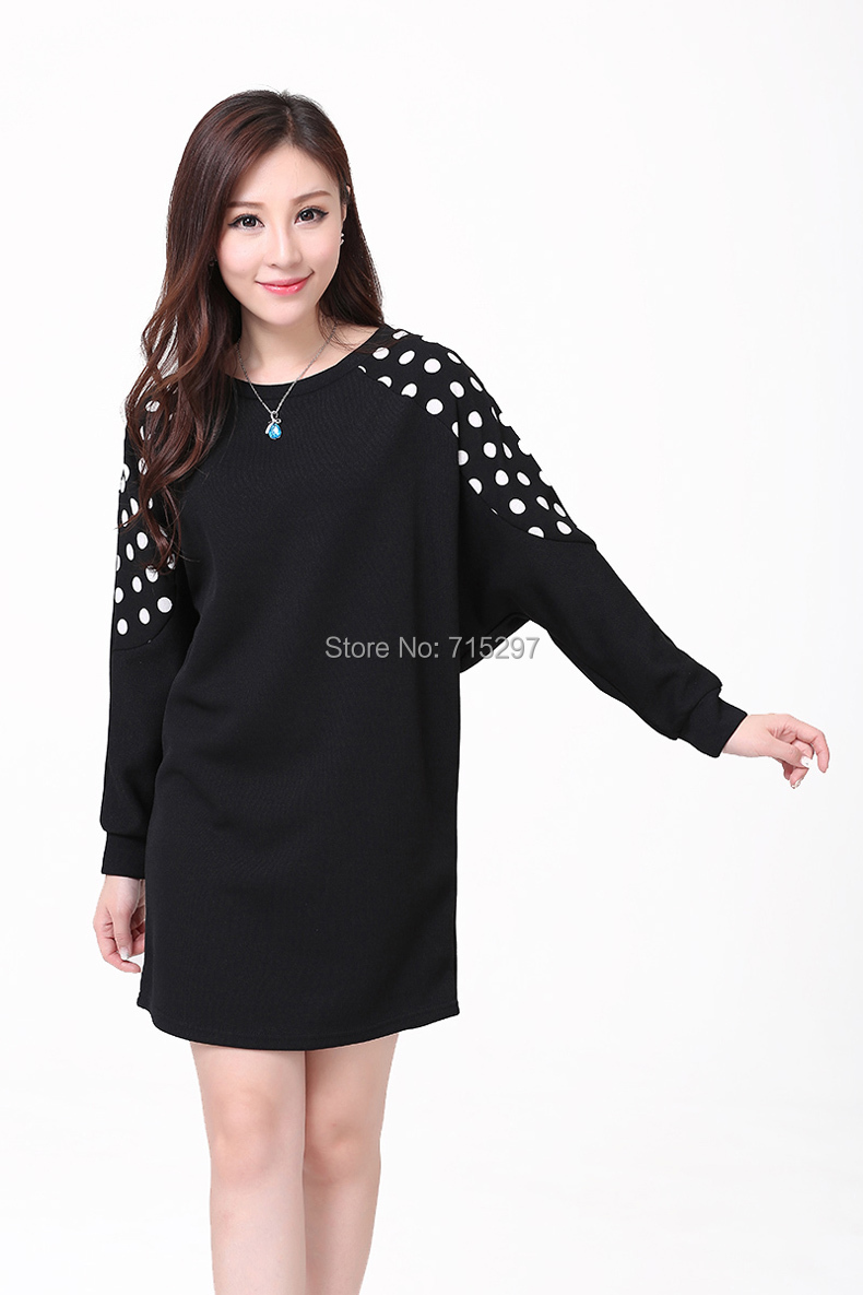 Get Quotations · 2015 New women plus size winter dress long batwing sleeve  polka dot patchwork knitted bottoming sweater f510d1f24201